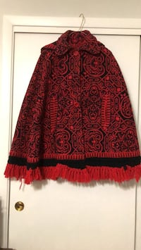 Handmade Red and black floral print poncho from Spain Norridge, 60706