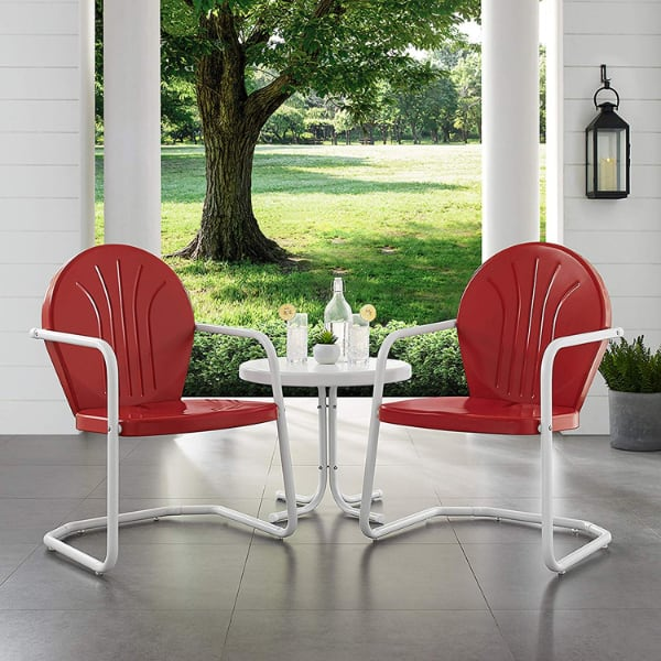 Crosley Griffith 3-Piece Metal Outdoor Seating Set in Red/White