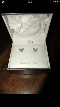 Mickey mouse earrings 18k over Sterling silver