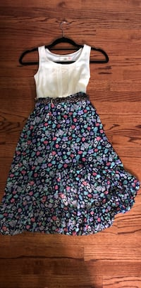 Kids white and blue floral sleeveless dress