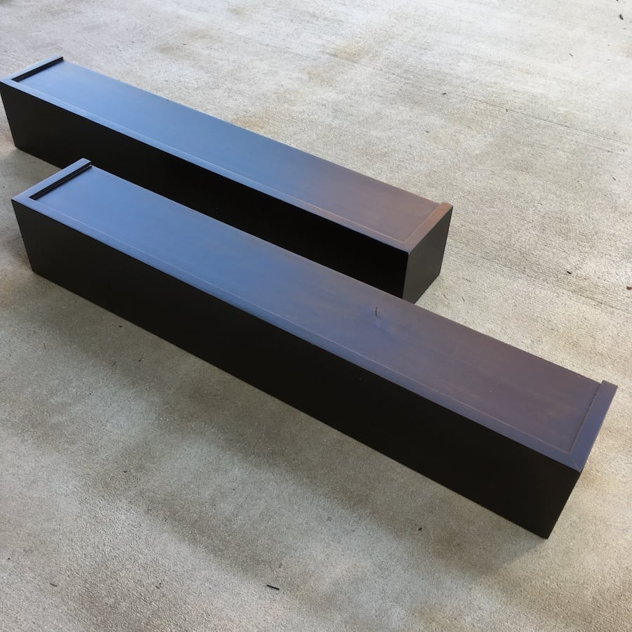 Wooden Floating Shelves in Coffee Brown - Set of Two