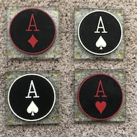 Four Glass Coasters with Aces Richmond Heights, 63117
