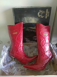 Red leather white diamonds boots Hollister, 95023