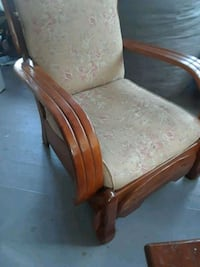 brown wooden framed white padded armchair West Springfield, 01089