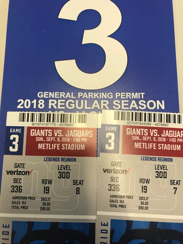 Used New York Giants V Jaguars 2 Tickets And Parking For Sale In