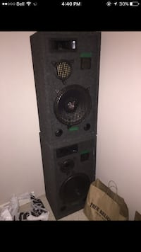 Two black and grey subwoofer speakers Kitchener, N2E 3W1