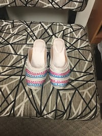 women's pair of white-pink-and-blue sandals Toronto, M2J
