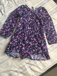 purple and pink floral long-sleeved dress