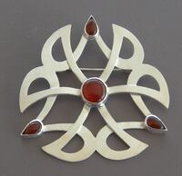 Sterling Silver and Bezel-Set Carnelian Pin/Pendant  Signed 1990s Chelmsford, 01824