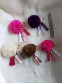 Genuine Rabbit Fur Pom Pom Keychain w/Tassels Woodbridge, 22193