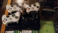 black Xbox 360 game console with 4controllers and1 Winnipeg, R3G 1M5