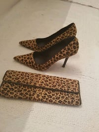 brown-and-black leopard pattern pointed toe pump shoes with long wallet Scarborough, M1K