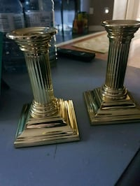 Solid brass candle holders.  Whitby, L1N 8X2