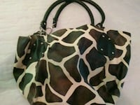 black and white giraffe print leather tote bag Mount Olive