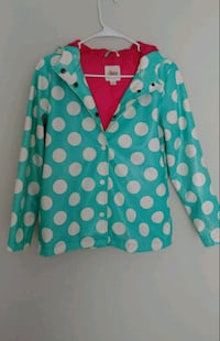 Young girl's waterproof jacket with hoodie (Size L)
