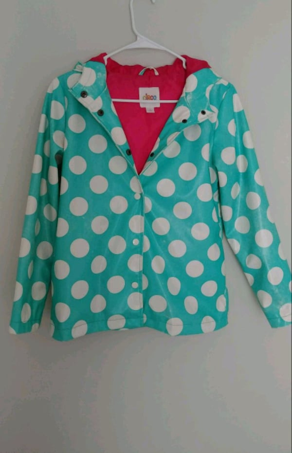 Young girl's waterproof jacket with hoodie (Size L cbeb81f4-3c23-4317-bd8d-155b79eb219c
