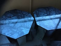 Two octagonal gray wooden side tables Toronto, M9V 0A1