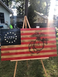 Wooden flag Marine laser etched. All inquiries text me and I will FaceTime or text you  [TL_HIDDEN]  Pine Hill, 08021