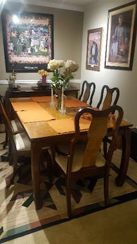 rectangular brown wooden table with six chairs dining set LOSANGELES