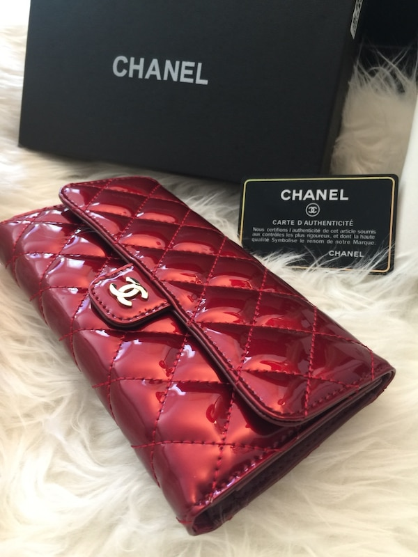 red Chanel patent leather long wallet
