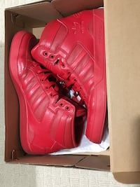 Pair of red Adidas high-top sneakers inbox size 10 Toronto, M8V 3K7