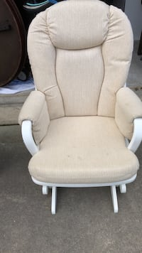 brown wooden framed white padded glider chair Mount Airy, 21771