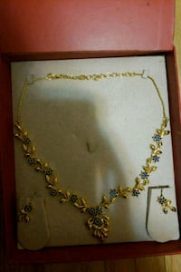 1Gram Gold Layer Necklace Set with Rare Topaz