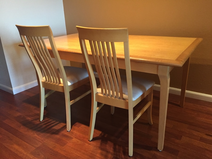 Custom Made Dining Table 38u201d Wide And 62u201d Long. Comes With 2 Chairs