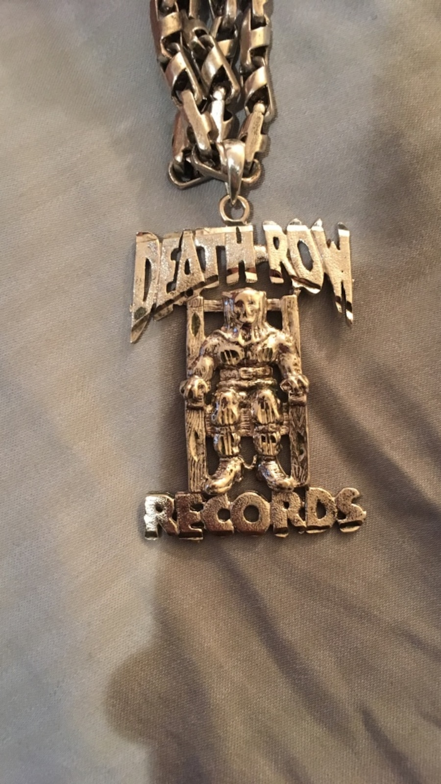 Used silver death row records pendant chain link necklace 22 inches used silver death row records pendant chain link necklace 22 inches in montral aloadofball Choice Image