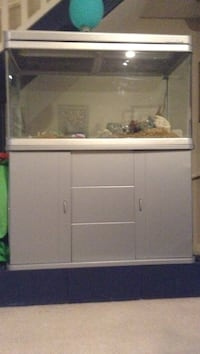 Grey framed glass aquarium with accessories