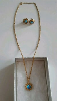 Necklace and Earring Set with Blue Swarovski Crystal  Toronto, M6H