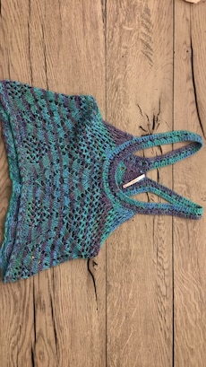 crochet blue and purple crop top