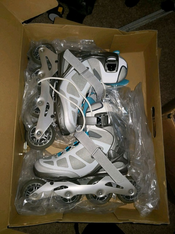 white-and-blue inline skates