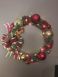 Red and green bauble wreath