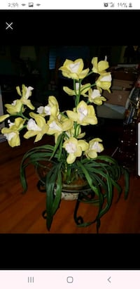 Artificial Orchid- Cymbidium- in wrought iron strand LARGE
