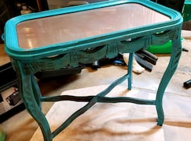 Accent table, antique, glass top