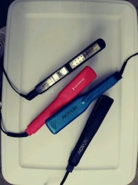 black - blue and pink hair flat irons