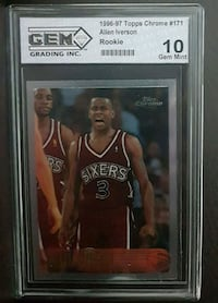 ALLEN IVERSON TOPPS CHROME ROOKIE #171 GRADED 10/10