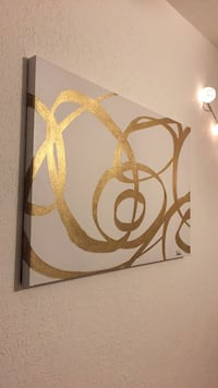 Gold on white canvas wall decor
