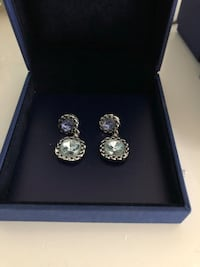 Silver Swarovski green and blue crystal earrings  Toronto, M1P 3M1