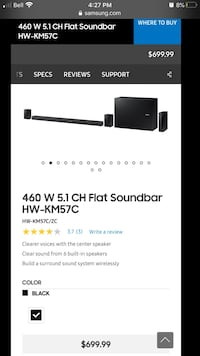 460 w Samsung sound bar w/. Rear speakers and subwoofer