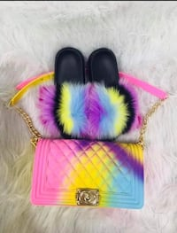 1 set multi-color real fox fur slides with purse