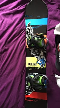 Black, yellow, blue and red printed snowboard
