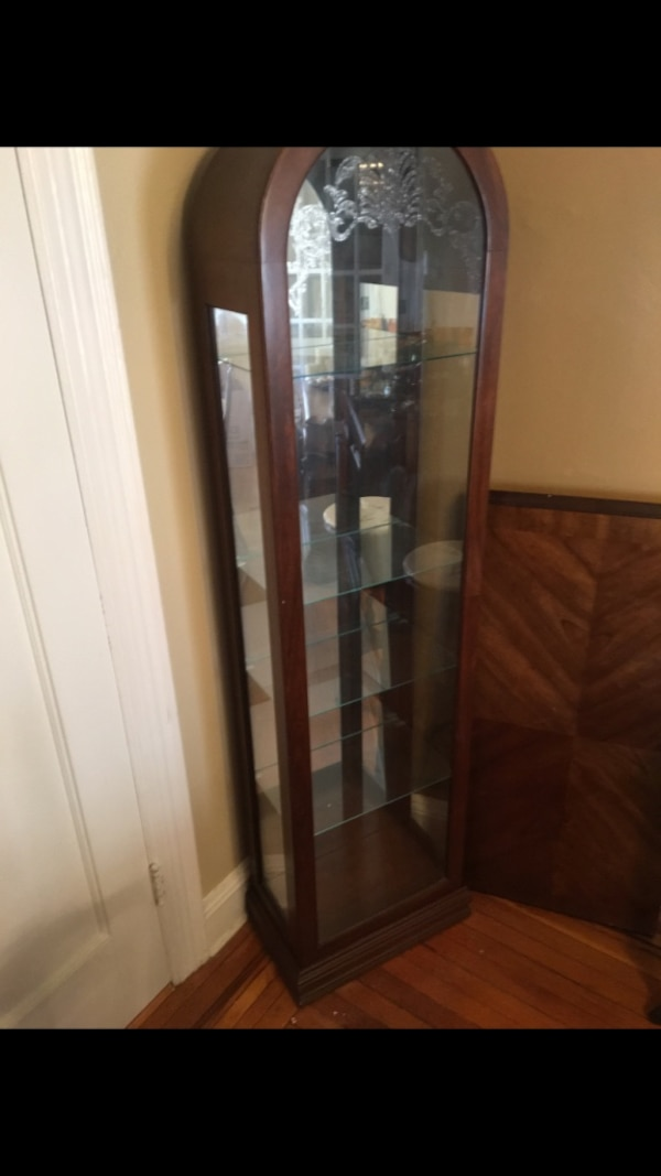 Used Brown Wooden Frame Gl Curio Cabinet For In New York