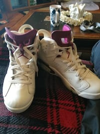 white-and-red Air Jordan basketball shoes