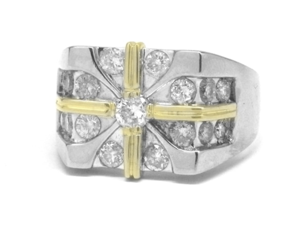 Mens 14k Diamond Star Ring