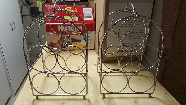 STAINLESS STEEL SET OF WINE BOTTLE HOLDERS FOR SALE