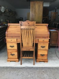 Pine roll top desk with chair