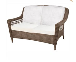 Hampton Spring Haven Grey Wicker Outdoor Patio Loveseat with Cushions