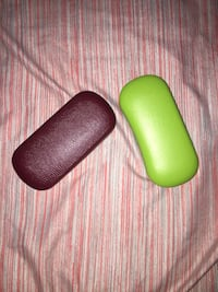 red and green eyeglasses cases